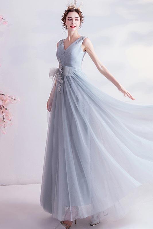eDressit  Sexy Grey V Neck Sleeveless Bridesmaid Dress Evening Dress (36226908)