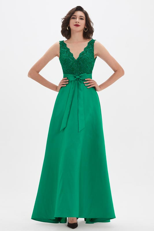 eDressit Green V-Cut Lace Appliques Pleated Belt Party Prom Dress (02210204)