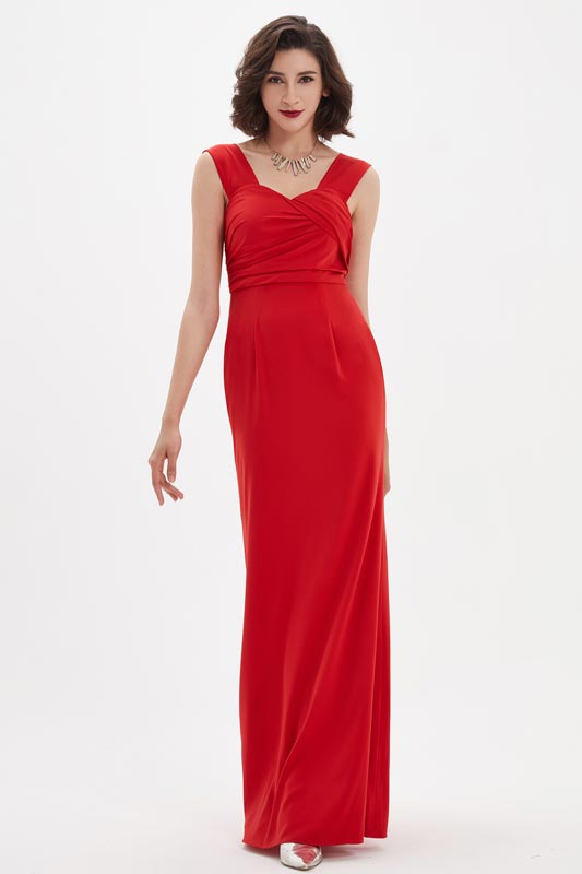 eDressit Red V-Cut Wide Straps Ruched Bodice Ball Evening Dress (00210702)