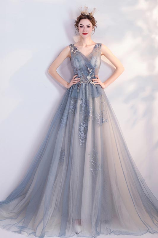 eDressit Grey V-Cut Sheer Tulle Prom Gown Party Evening Dress (36227908)