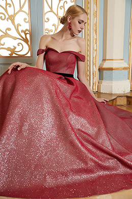 Off Shoulder New Burgundy Elegant Party Ball Gown -eDressit (02201717)