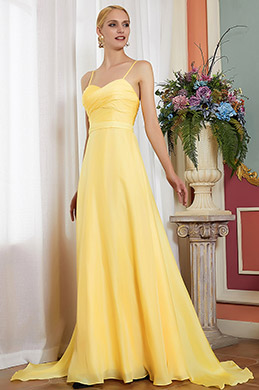 Spaghetti Yellow V-Cut  Bridesmaid Evening Dress -eDressit (00200303)