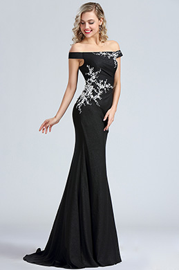 eDressit Black Off Shoulder Lace Applique Evening Dress (00171600)