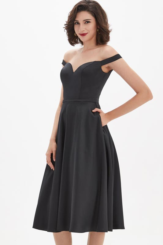 eDressit Black OFF-Shoulder Sweetheart V-Cut Cocktail Party Dress (04210600)
