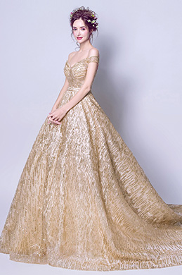 eDressit Sexy Gold Sequins Off-Shoulder Party Evening Gown (36206924)