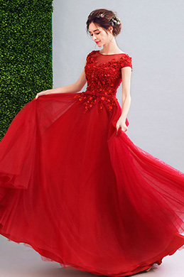 eDressit Red Illusion Neck Tulle Party Prom Dress (36208302)