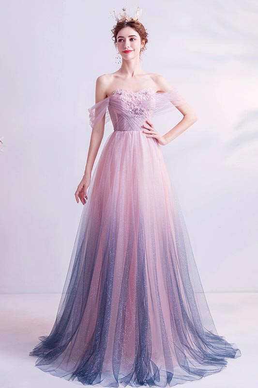 eDressit Shiny Gradient Off Shoulder Long Tulle Party Formal Gown (36224701)