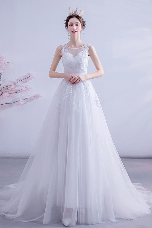 eDressit White A Line Embroidered Wedding Bridal Dress (36225407)