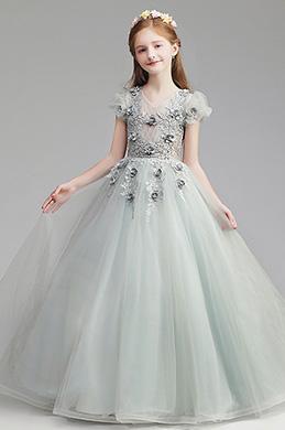 eDressit Lovely Grey Long Wedding Flower Girl Dress (27196808)