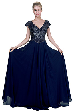 eDressit Blue V-Cut Cap Beaded Long Party Evening Dress (26192205)