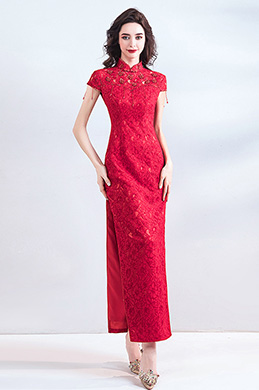 eDressit Red High Neck Cap Sleeve Lace Party Ball Dress (36200902)