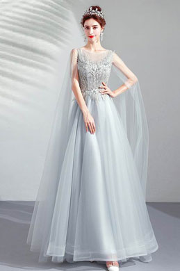 eDressit Grey Elegant Long Tulle Bride Evening Prom Dress (36213808)