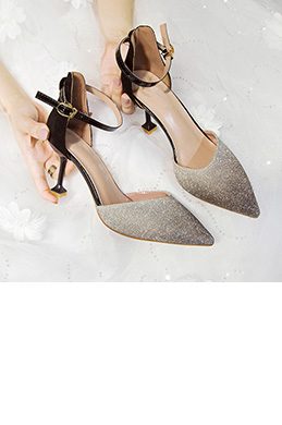 Women Sequins Toe Closed High Heels Shoes (0919085)