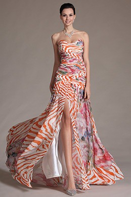 eDressit Printed Stunning High Split Strapless Evening Dress (00134468)