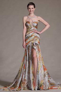 eDressit Printed High Split Strapless Evening Gown (00134668)