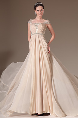 eDressit Beige Cap Sleeves Lace Embroidery Evening Gown (00144914)