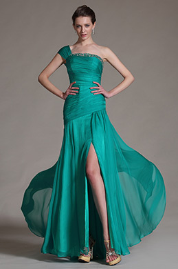 eDressit Green One Shoulder Pleated Top Evening Dress Prom Ball Gown (00147211)