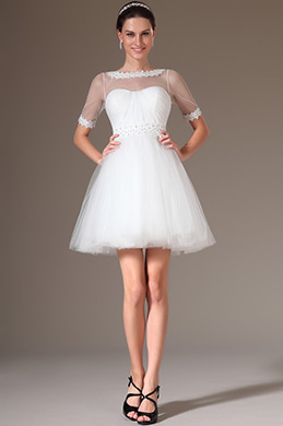 eDressit Lace Neckline Short Wedding Dress (01140107)