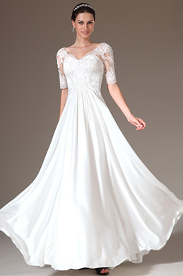 eDressit Overlace Top Short Sleeves Wedding Dress (01141007)