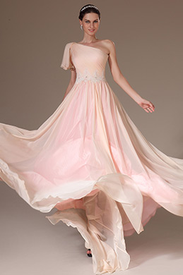 eDressit Formal Pink One Shoulder Evening Gown (02143301)