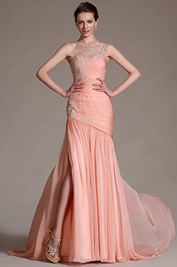 eDressit Elegant Pink One Shoulder Lace Evening Dress Prom Gown (02144701)