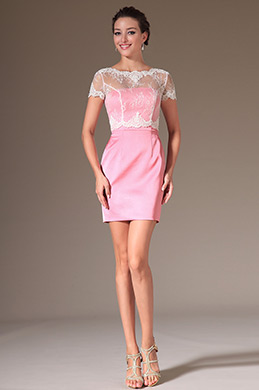 eDressit Pink Overlace Top Cocktail Dress Day Dress (03140601)