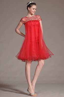eDressit Sheer Top Red Cocktail Dress (04143002)