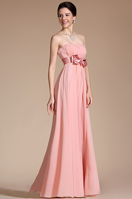 Simple Elegant Light Pink Strapless Bridemaids Dress(C00117801)