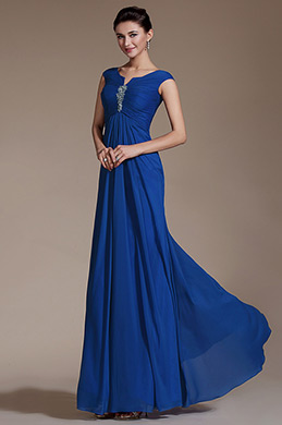 Blue Cap Sleeves Empire Waistline Evening Dress Prom Gown (C00141205)