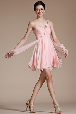 Pink One Shoulder Beadings Cocktail Dress/ Party Dress(C04140101)