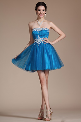 Blue Strapless Lace Appliques Cocktail Dress/ Party Dress (C04140405)