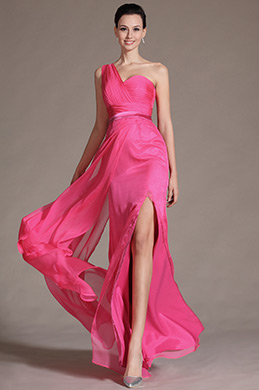 Hot Pink One Shoulder High Split Bridesmaid Dress (C07141212)