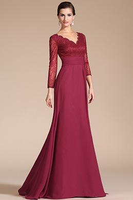 2014 Nouveauté V-Décolleté Manches Longues Robe de Mère de Mariée(C26140402)