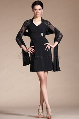 Black 3/4 Sleeves V-cut Cocktail Dress/Mother of the Bride Dress (C35140100)