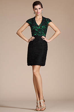 V-neck Black Lace Bodice Mother of the Bride Dress/Day Dress(C35140404)