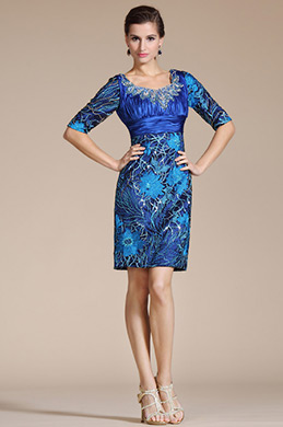 Blue U-neck Overlace Half Sleeves Mother of the Bride Dress (C35140505)
