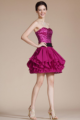 Hot Pink Strapless Cocktail Dress/Party Dress/Bridesmaid Dress (C35140812)