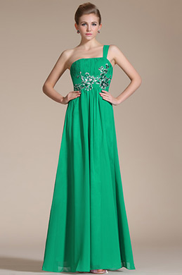 Adorable Green Embroidery One Shoulder Evening Dress (C36141704)