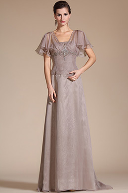 Grey Short Sleeves Beadings Evening Dress/ Mother of the Bride Dress (C36142046)