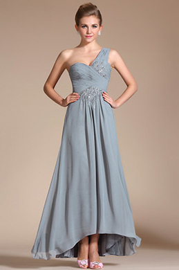 Elegant Grey One Shoulder Evening Dress (C36142108)