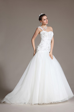 Lordly One Shoulder Lace Beadings Mermaid Wedding Gown (C37140107)