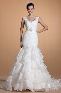 Elegant V Neck Mermaid Wedding Gown (C37140407)