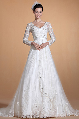 2014Novedad V encaje mangas blusa moldeada Vestido de Boda (C37140507)