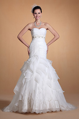 Sweetheart Empire Waistline Ruched Mermaid Wedding Gown (C37141907)