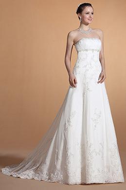 2014 Neu Trägerlos Perlen Empire Taile Hochzeitskleid(C37145907)