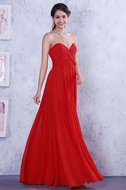 Simple Red Strapless Ruched Bodice Evening Dress Bridesmaid Dress (00105702)