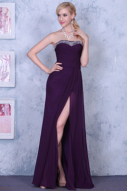 Noble Purple Strapless High Slit Evening Gown Formal Dress (00139206)