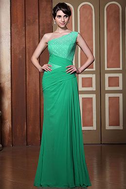Elegant Light Green One Shoulder Evening Dress Formal Gown (00140104)