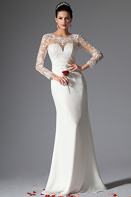 eDressit Scoop Sheer Top Lace Evening Wedding Gown (01141907)