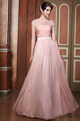 Sexy Sheer Top Cap Sleeves Evening Dress Formal Gown (02131046)